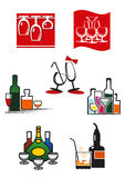 Glasses and alcohol icons or symbols Stock Photography