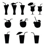 Glasses of alcohol with a straw vector Royalty Free Stock Photos