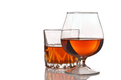 Glasses of alcohol whiskey Stock Photo