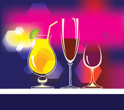 Glasses of alcoholic beverages, cocktails, wine. Vector set of drinks illustrations. Vector set of drinks illustrations Stock Image