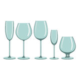 Glasses for alcoholic beverages. Different types of wine glasses for alcoholic beverages stock illustration