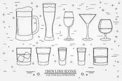 Glasses for alcoholic drinks. Beverage, cocktail, drinks vector Stock Image