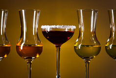 Glasses with alcoholic drinks Royalty Free Stock Photo