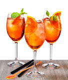 Glasses of aperol spritz cocktail Royalty Free Stock Images