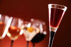 Glasses with assorted alcoholic beverages Stock Photo