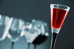 Glasses with assorted alcoholic beverages Stock Image