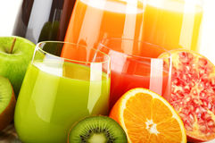 Glasses of assorted fruit juice. Detox diet Royalty Free Stock Photos