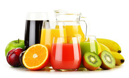 Glasses of assorted fruit juices on white. Detox diet Royalty Free Stock Photos