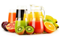 Glasses of assorted fruit juices on white. Detox diet Royalty Free Stock Photography