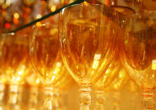 Glasses at the bar. Close up of Wine Glasses at the bar Stock Photography