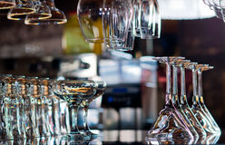 Glasses on bar counter Stock Photography