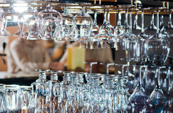 Glasses on bar counter Royalty Free Stock Photos