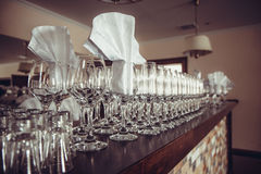 Glasses on the bar. Crystal glasses on the bar Royalty Free Stock Photo