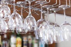 Glasses at the bar, restaurant interior Royalty Free Stock Photo