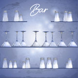 Glasses on the bar shelfs. Vector illustration in eps10 format Royalty Free Stock Images