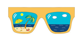 Glasses with beach scene reflection royalty free illustration