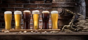 Glasses of beer and ale barrel on the wooden table. Craft brewer. Y royalty free stock photography