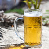 Glasses of beer on beach Stock Photos