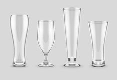 Glasses for beer drinking in pub empty set Stock Image