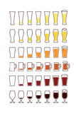 Glasses of beer: empty, half, full. Vector Stock Image