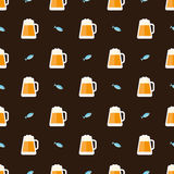 Glasses of beer and fish pattern. Seamless pattern with glasses of beer and fish vector background Royalty Free Stock Images