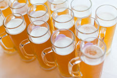 Glasses of beer. Many glasses of beer in a pary Stock Photo
