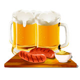 Glasses of beer with sausage & mustard on wooden bred. On a white background vector illustration
