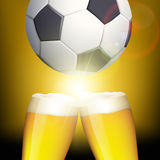 Glasses of beer and a soccer ball. Celebrating victory. Stock  Stock Images