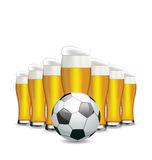 Glasses of Beer and Soccer Ball Royalty Free Stock Image