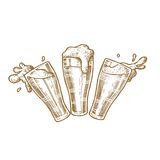 Glasses of beer with splashes. vintage vector engraving illustratio hand drawn Royalty Free Stock Photos