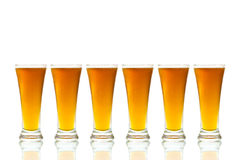 Glasses of Beer on white background Stock Image