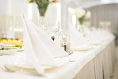 Glasses behind Napkin Royalty Free Stock Images