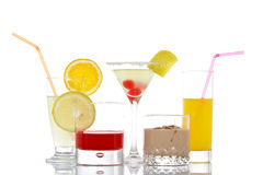 Glasses with beverages Stock Photos
