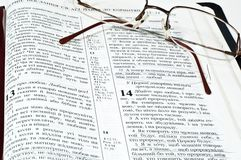 Glasses bible Royalty Free Stock Photos