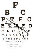 Glasses black. Close up of glasses and snellen chart Stock Photography