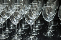 Glasses on a black plane. Wine glasses on black marble Stock Photo