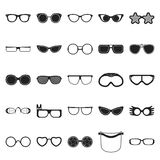 Glasses 25 black simple icons set for web. Design Stock Photos