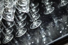 Glasses on a black table. Royalty Free Stock Image