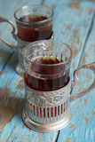 Glasses with black tea Royalty Free Stock Images