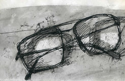 Glasses. Black and white ink drawing of glasses Royalty Free Stock Image
