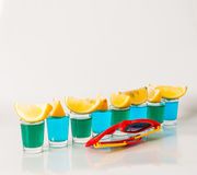 Glasses with blue and green kamikaze, glamorous drinks, mixed dr Stock Image