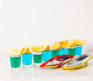 Glasses with blue and green kamikaze, glamorous drinks, mixed dr Royalty Free Stock Photo