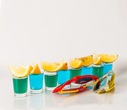 Glasses with blue and green kamikaze, glamorous drinks, mixed dr Stock Photos