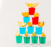 Glasses with blue, green and red kamikaze, glamorous drinks, mix Royalty Free Stock Photography