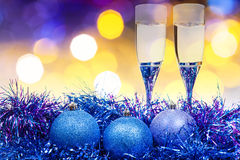 Glasses, blue Xmass balls on blurry background 9 Stock Image