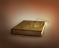 Glasses on the  book. Glasses lying on the old  book Stock Image