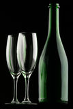 Glasses & Bottle Royalty Free Stock Photos