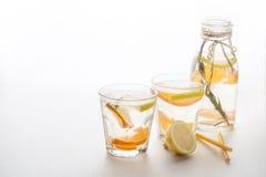 Glasses and bottle of frozen homemade lemonade Royalty Free Stock Photos