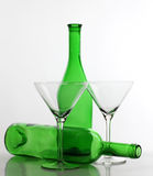 Glasses and bottle martini Royalty Free Stock Images