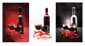 Glasses and bottle with red wine collage Royalty Free Stock Photo